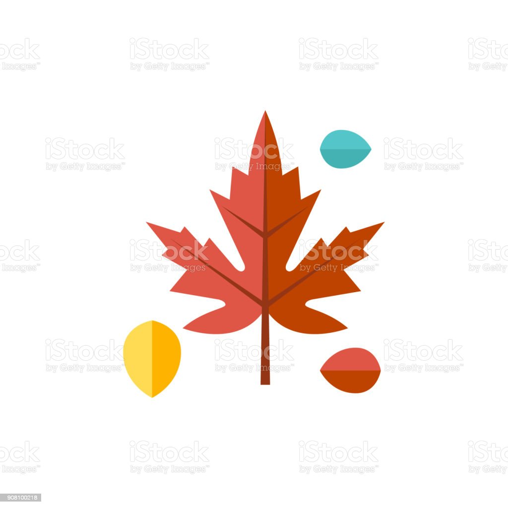 Flat Icon Maple Leaves Stock Illustration Download Image Now Istock