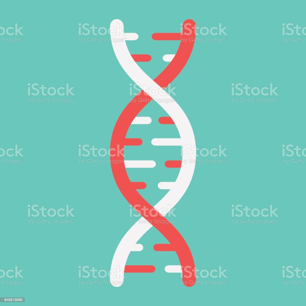DNA flat icon, medicine and healthcare, genetic sign vector graphics, a colorful solid pattern on a cyan background, eps 10. vector art illustration
