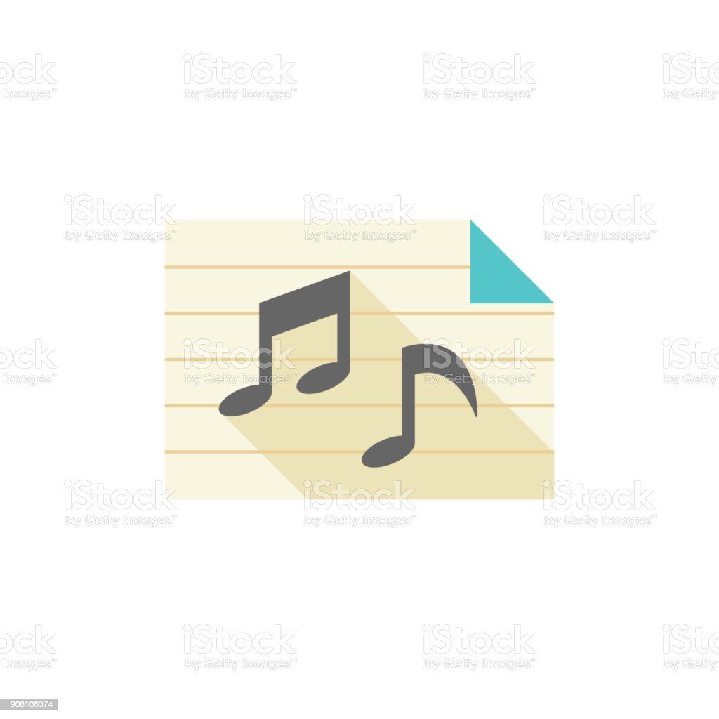 Flat icon - Music notes vector art illustration