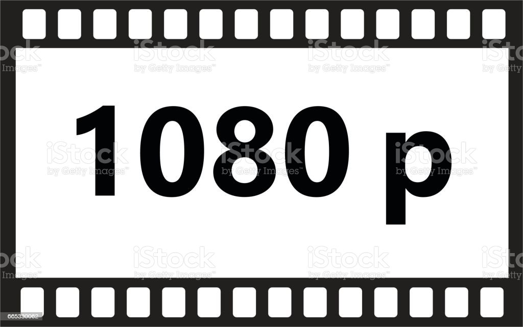 Flat Icon Of 1080p Hd Video On White Background Stock Illustration