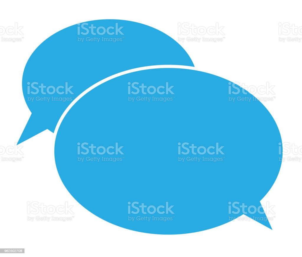flat icon of a communication. chat icon on white background. chat sign. flat style. blue communication symbol. - Royalty-free Art stock vector
