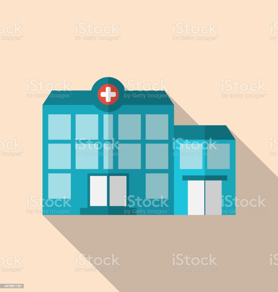 Flat Icon of Hospital Building with Long Shadow vector art illustration