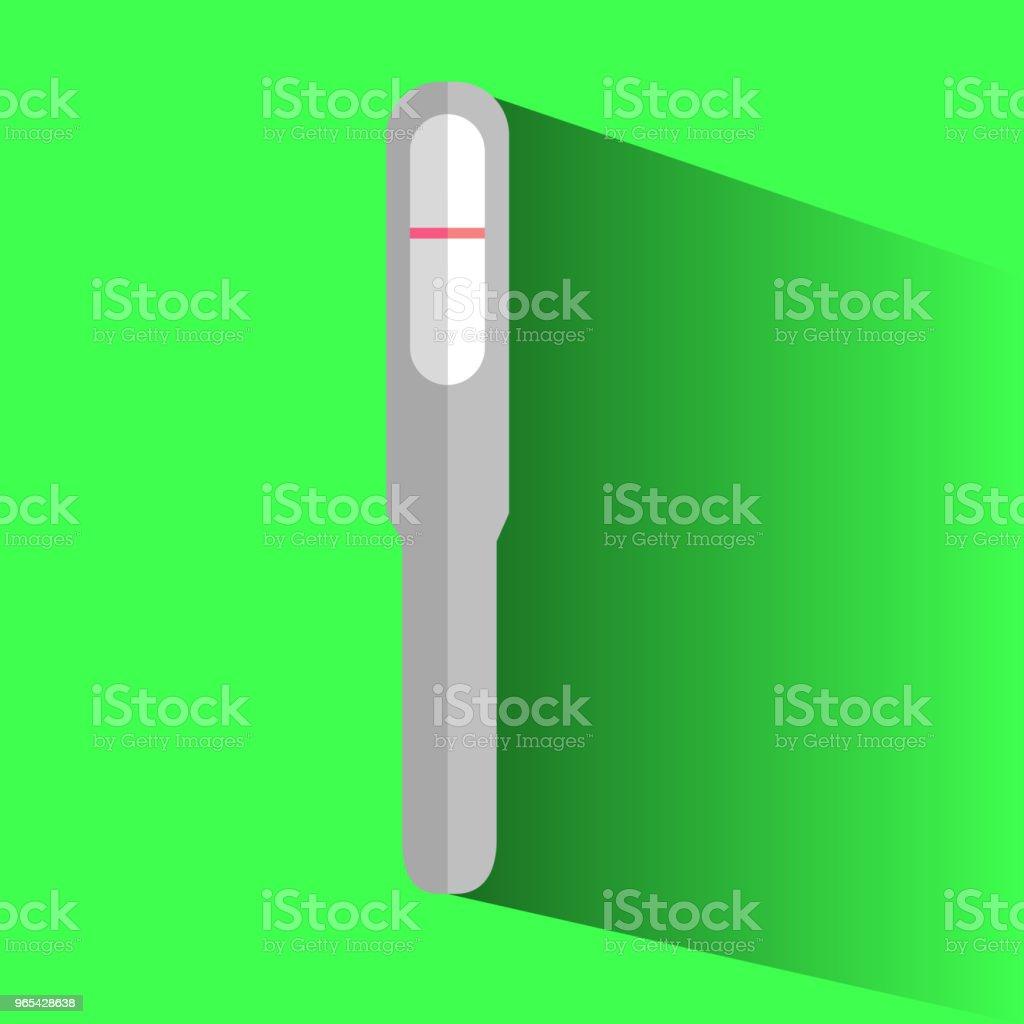 icône plate de résultat négatif de pack de test de grossesse à fond vert - clipart vectoriel de Anticipation libre de droits