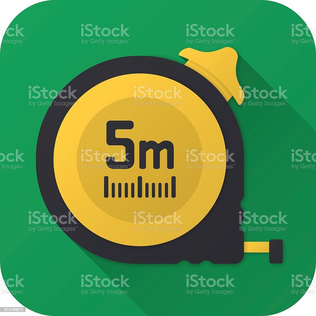 Flat icon of toy construction tape measure