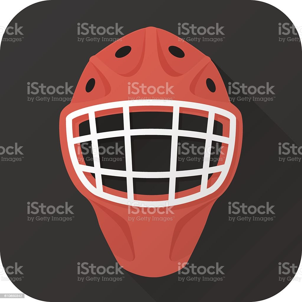 Flat icon of toy hockey goalie helmet vector art illustration