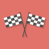 Flat icon of two crossed racing, competition or finish flags