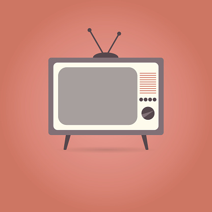 TV flat icon on red background.