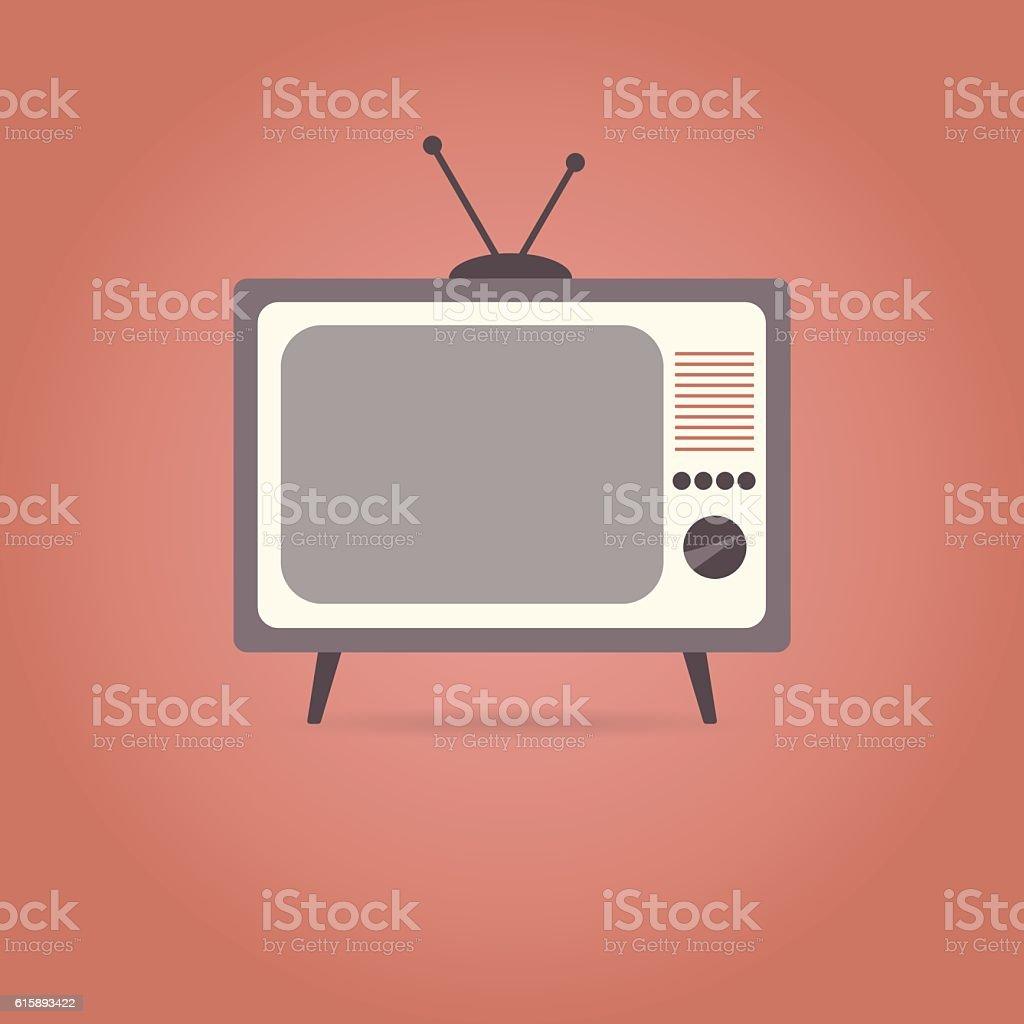 TV flat icon on red background. - ilustração de arte em vetor