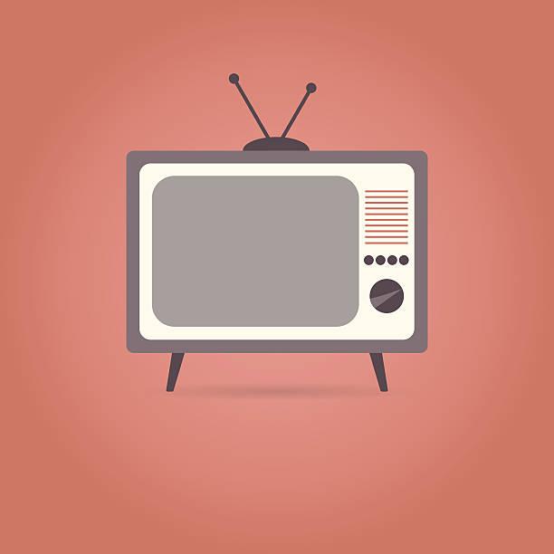 tv flat icon on red background. - bildschirme stock-grafiken, -clipart, -cartoons und -symbole