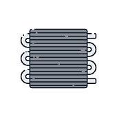 Flat icon on the car radiator.