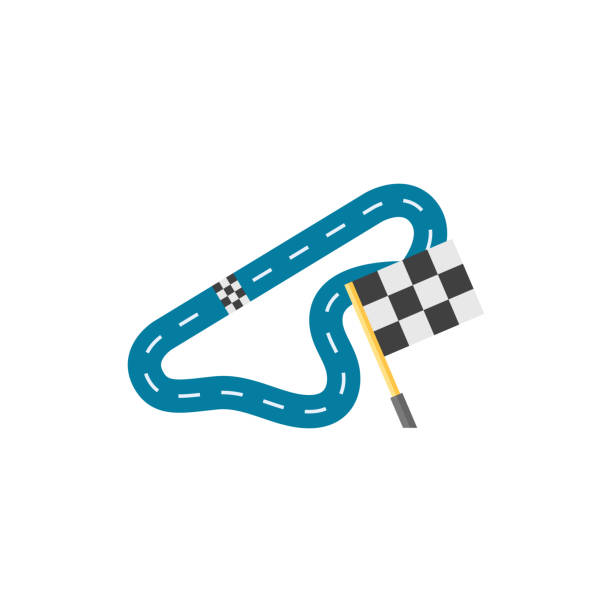 flat icon - race circuit - formula 1 stock illustrations