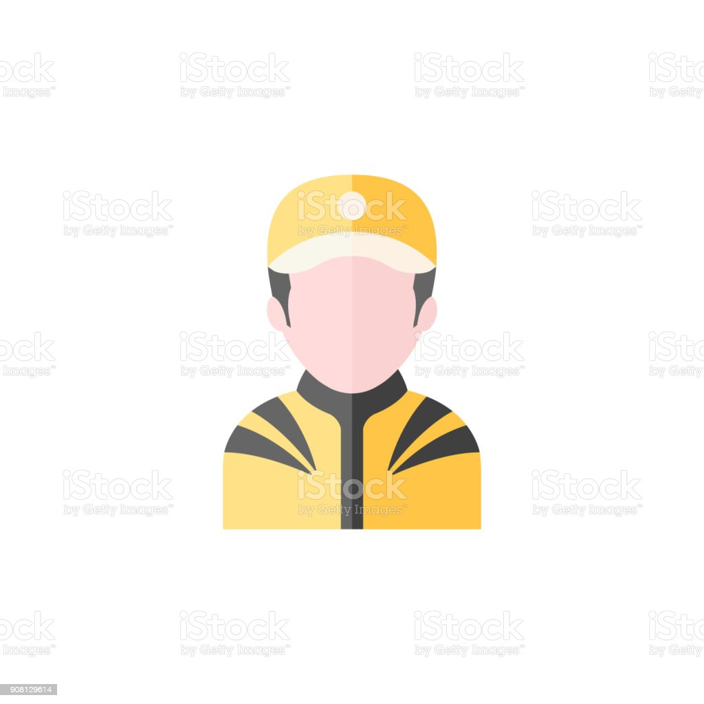 Flat icon - Racer avatar vector art illustration