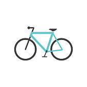 Road bicycle icon in flat color style. Sport, race, cycling, speed