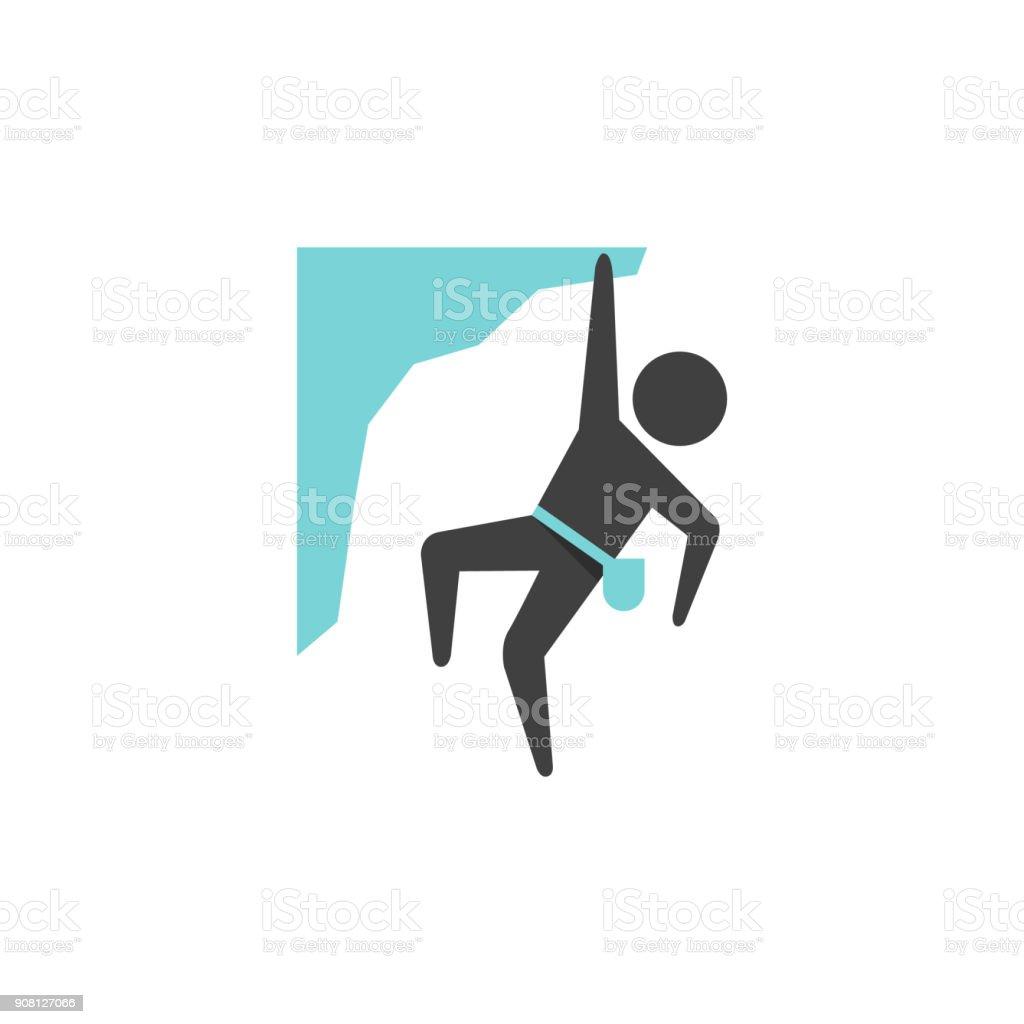 Flat icon - Rock climbing vector art illustration