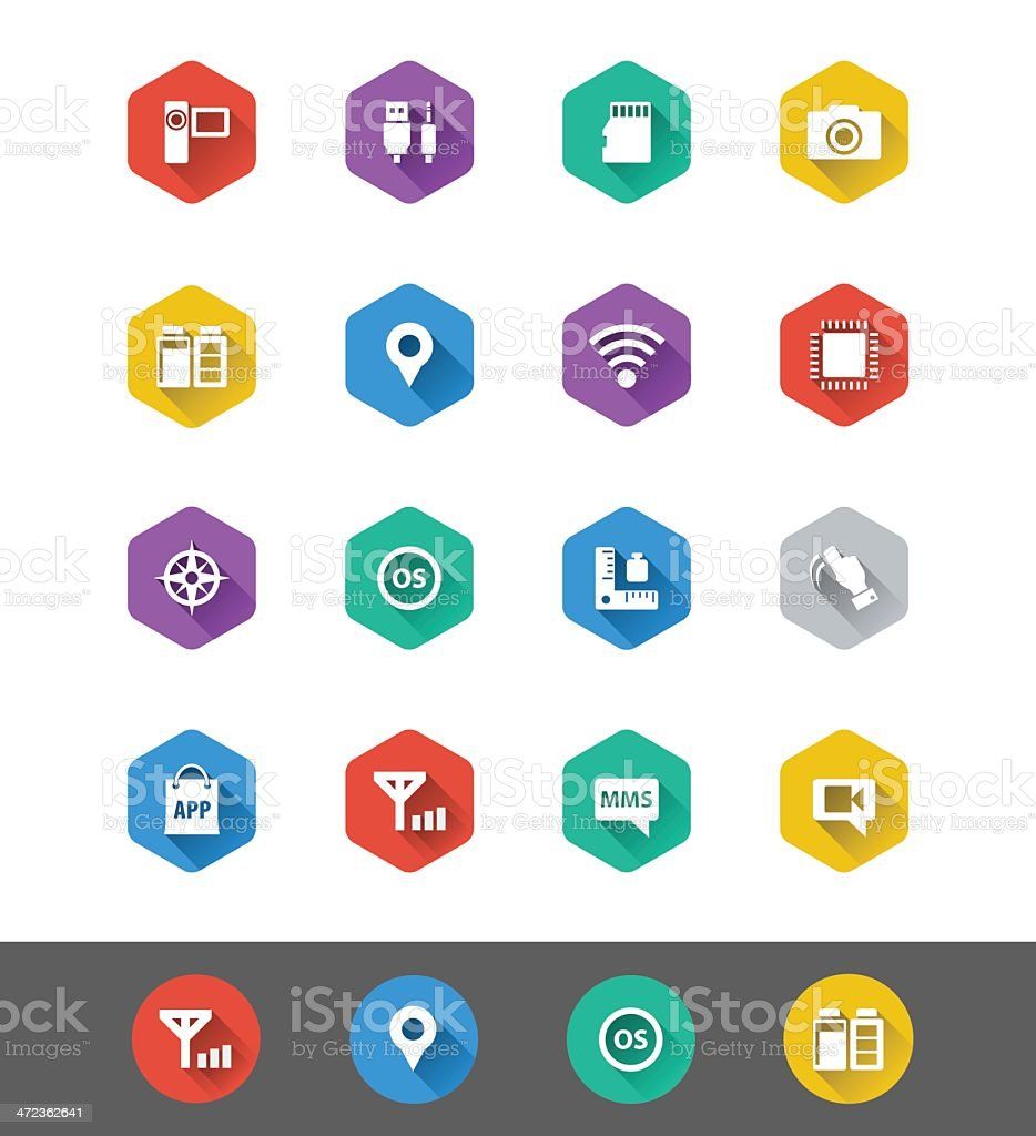 Flat Icon Series: Smart Phone Specs Icons royalty-free stock vector art