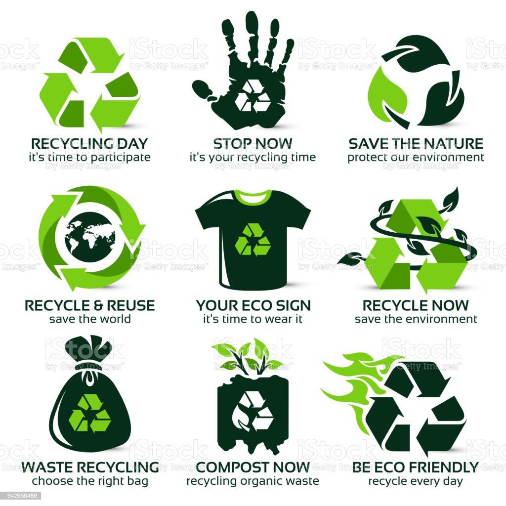 flache Symbolsatz für Eco freundliche recycling – Vektorgrafik