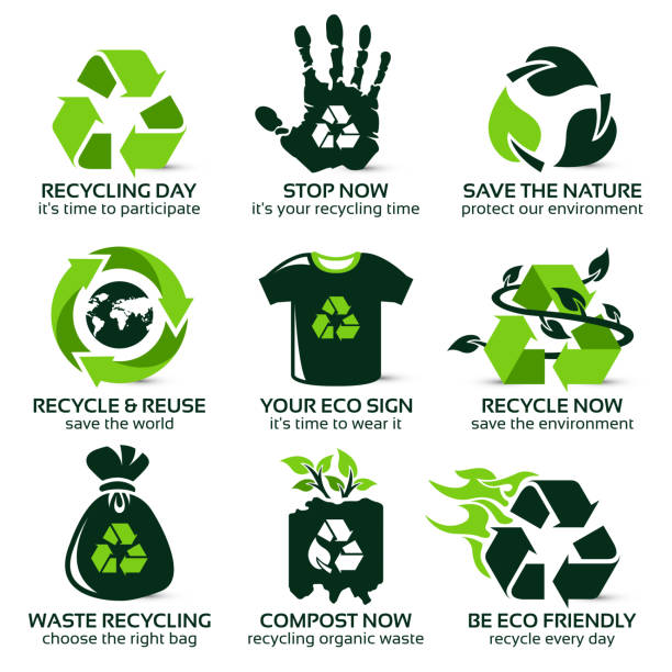 flat icon set for eco friendly recycling - recycling stock illustrations
