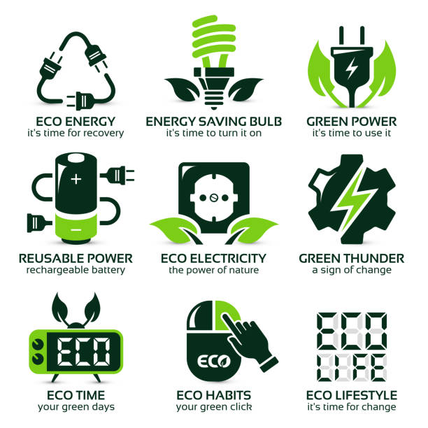 flat icon set for green eco electricity flat icon set for green eco electricity, the drop shadow contains transparencies, eps10 rechargeable battery stock illustrations