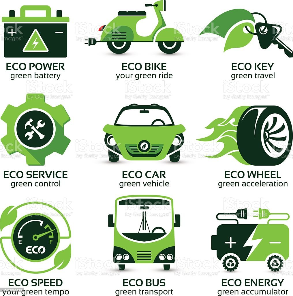 flat icon set for green eco urban traffic vector art illustration