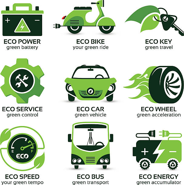 flat icon set for green eco urban traffic flat icon set for green eco urban traffic, the drop shadow contains transparencies, eps10 hybrid vehicle stock illustrations
