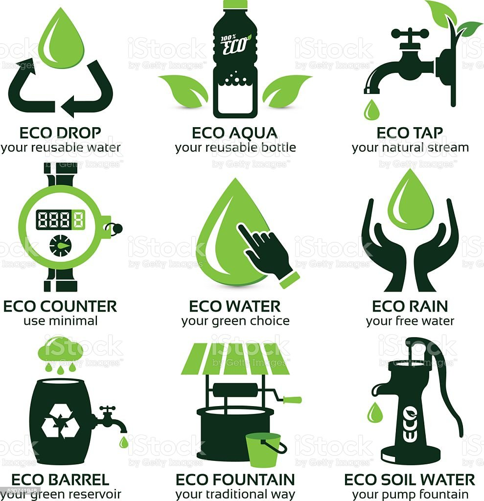 flat icon set for green eco water vector art illustration