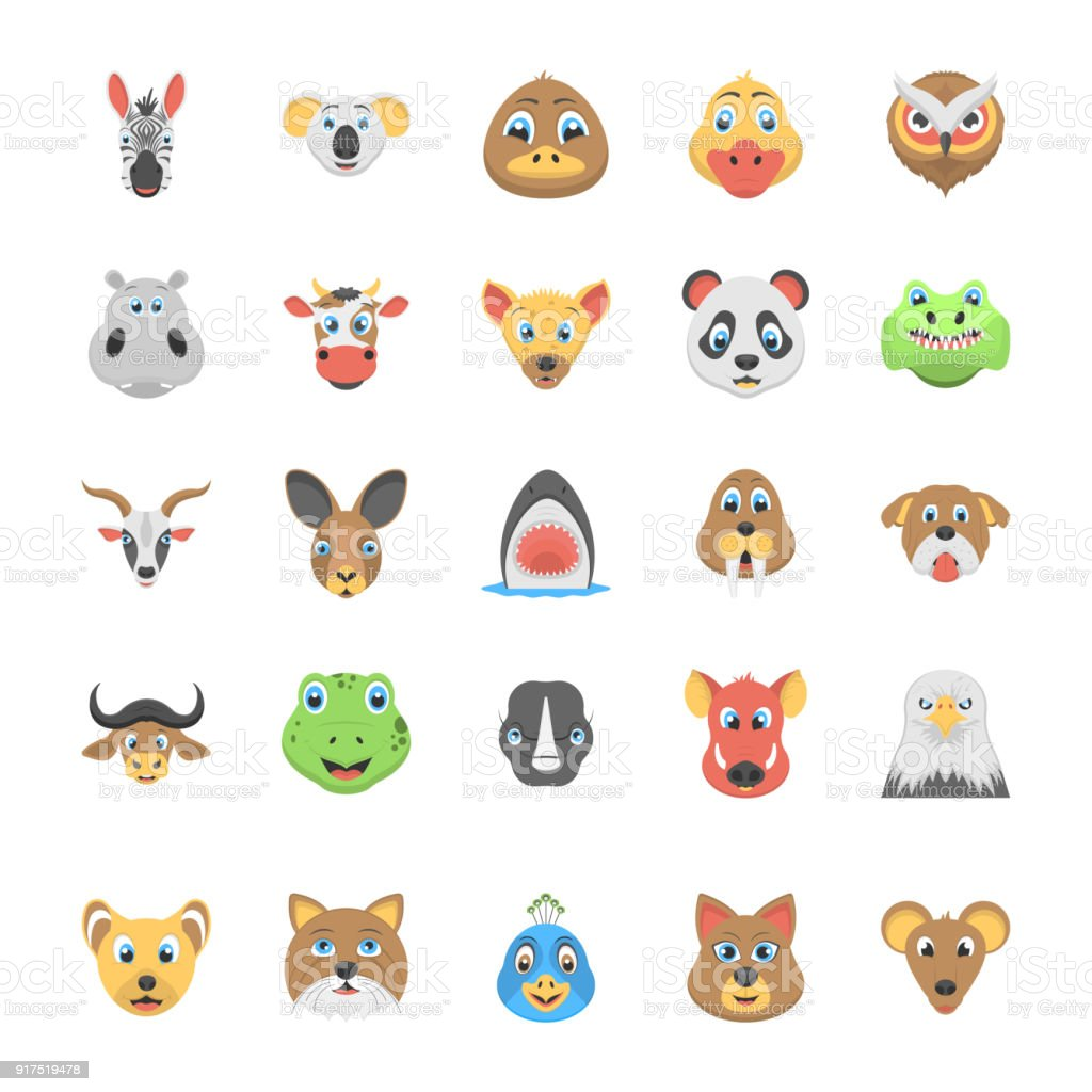 This flat icon set of specially designed faces of animals consist of...