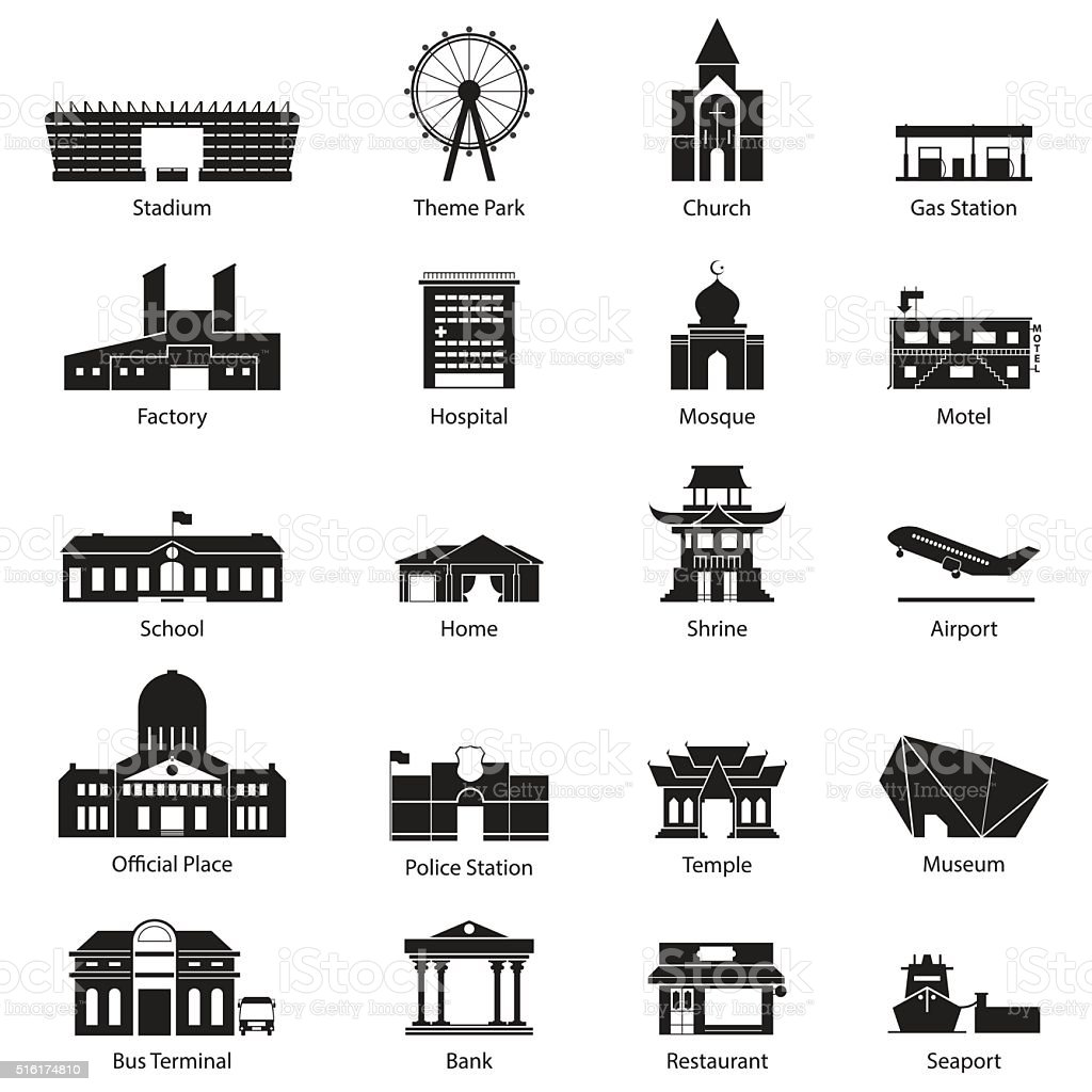 Flat icon set of black and white city building. vector art illustration