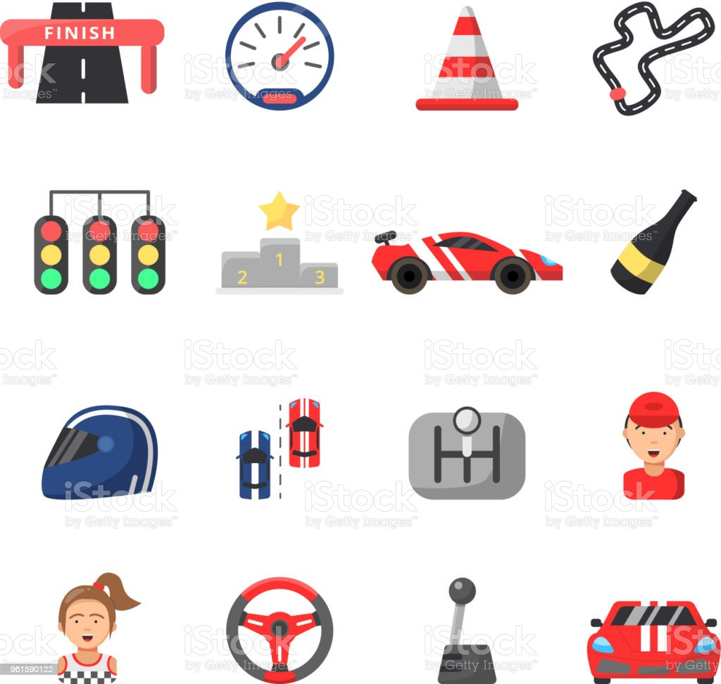 Flat Icon Set Of Cars And Racing Symbols Stock Vector Art More