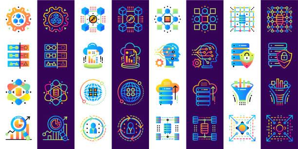 Icono de plano conjunto de datos ciencia, tecnología y proceso de aprendizaje de máquina. Icono del diseño material conveniente para impresión, Web y presentación - ilustración de arte vectorial
