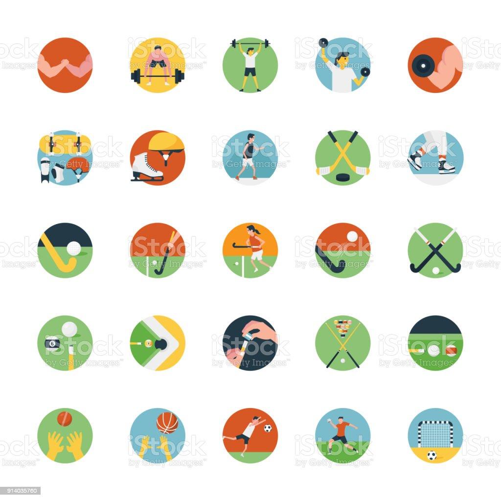 Flat Icon Set of Sports Icon vector art illustration