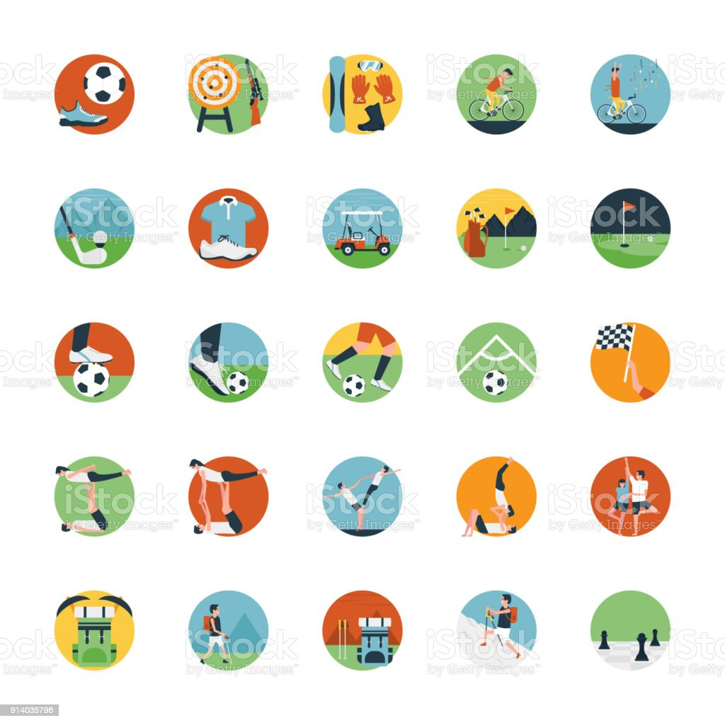 e71a0c3f7864 Flat Icon Set Of Sports Icon Stock Vector Art   More Images of ...