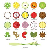 Flat icon set of tropical fruit and Herb. Vector Illustration.