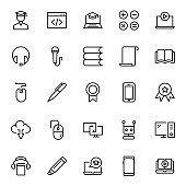 E-learning icon set. Collection of high quality black outline icon for web site design and mobile apps. Vector illustration on a white background.