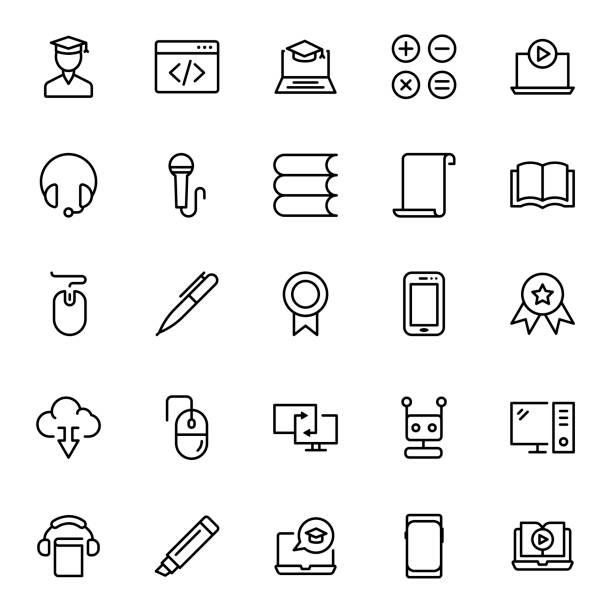 illustrazioni stock, clip art, cartoni animati e icone di tendenza di set di icone piatte - didattica a distanza