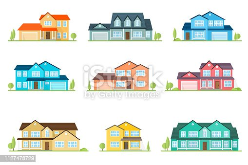 Set of vector flat icon suburban american house. For web design and application interface, also useful for infographics. Family house icon isolated on white background. Home facade with color roof