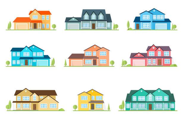 płaska ikona podmiejskiego amerykańskiego domu. do projektowania stron internetowych i interfejsu aplikacji, również przydatne dla infografik. ikona domu rodzinnego odizolowana na białym tle. fasada domu z kolorowym dachem - house stock illustrations