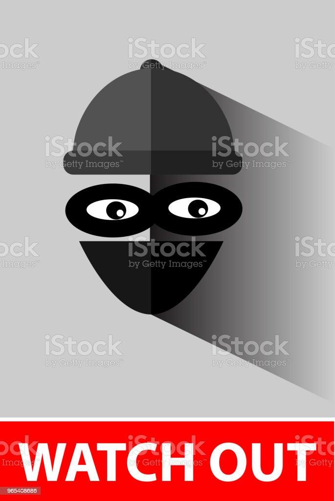 Icône plate, voleur à gray - clipart vectoriel de Bandit libre de droits