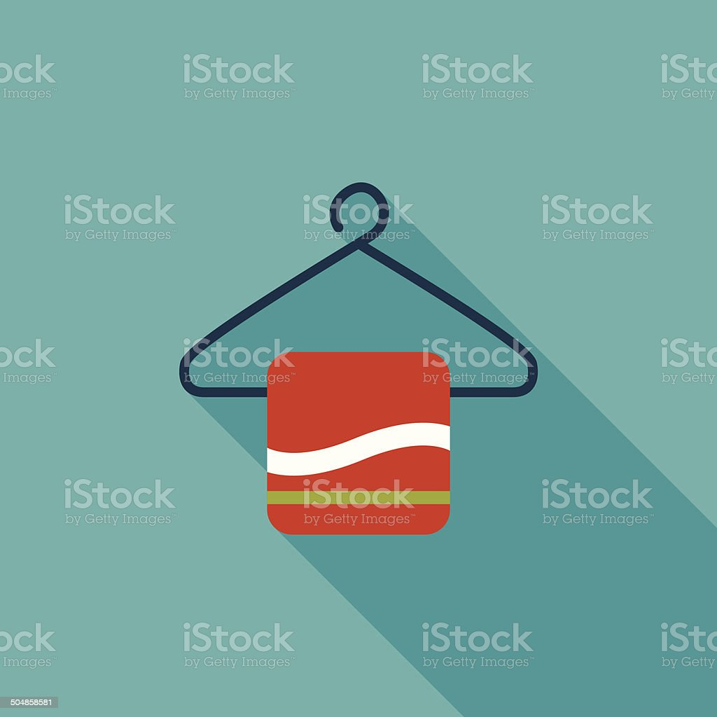 TOWEL HANGER flat icon with long shadow royalty-free stock vector art