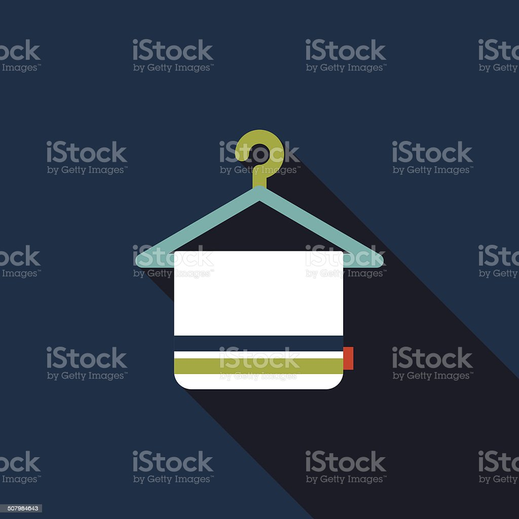 TOWEL HANGER flat icon with long shadow vector art illustration