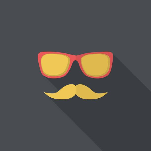 ilustrações, clipart, desenhos animados e ícones de plano de ícone com bigode e óculos - vector. - moda urbana