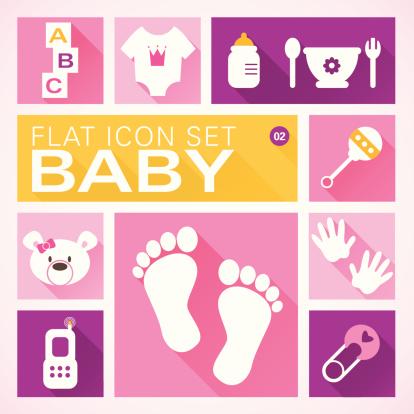 Flat icons 2 Baby Girl
