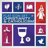 Flat icons 23 Christianity and Catholic Religious - Illustration