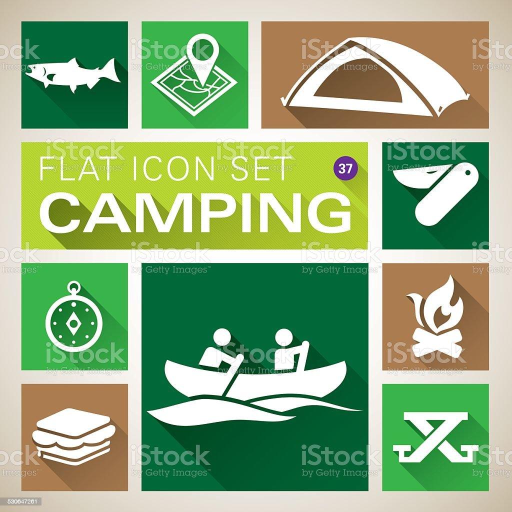 Camping icônes de plat de 94 cm - Illustration vectorielle