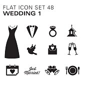 A vector illustrations of Wedding icons. There are separate layers for easier editing.