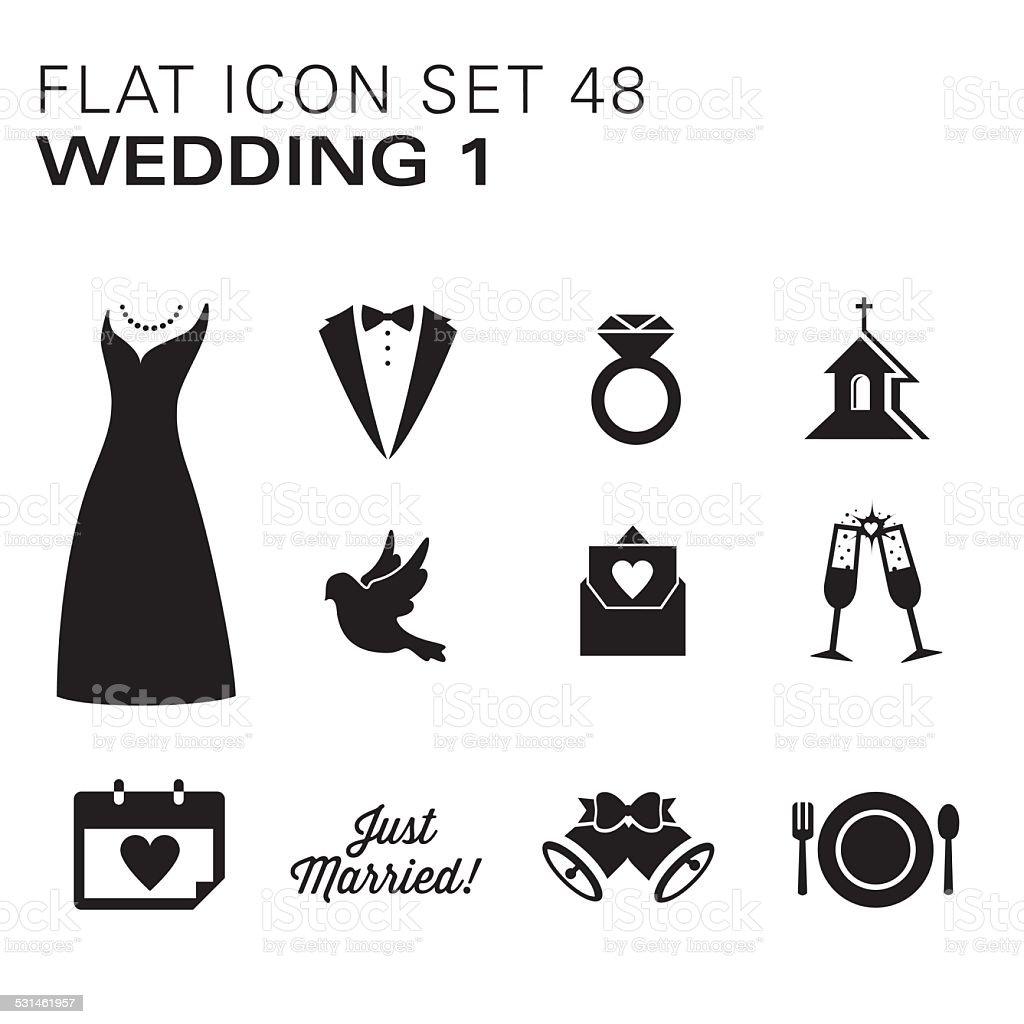 Flat icons 48 Wedding 1 - Black vector art illustration
