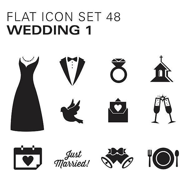 Flat icons 48 Wedding 1 - Black A vector illustrations of Wedding icons. There are separate layers for easier editing.  wedding dress stock illustrations