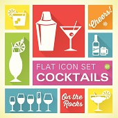 Flat icons 7 Cocktails & Drinks