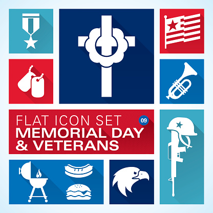 Flat icons 9 Memorial Day & Veterans