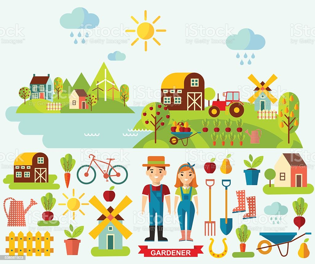 Flat icons and panoramic rural landscape with gardening concept vector art illustration