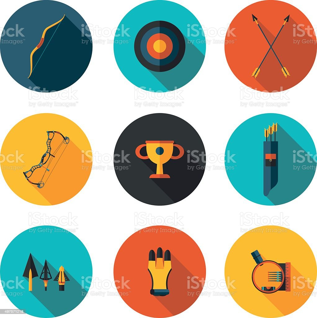 flat icons archery vector art illustration